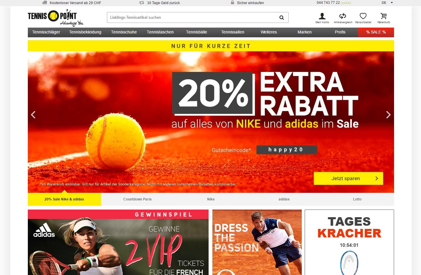 Tennispoint Homepage Screenshot