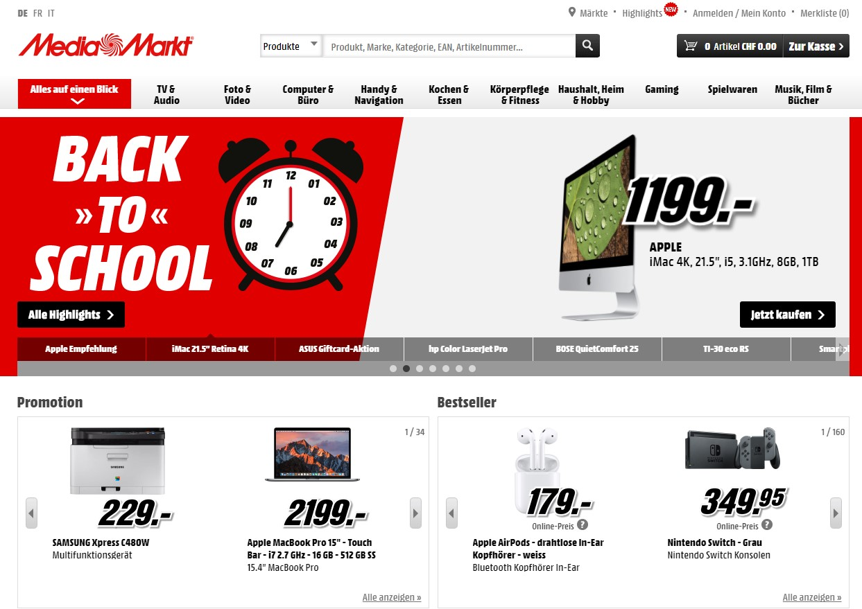 Media Markt Homepage Screenshot