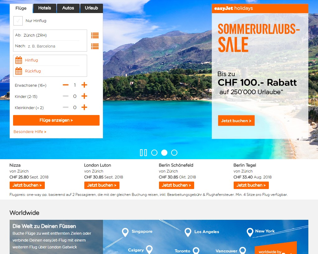 Easyjet Holidays Homepage Screenshot