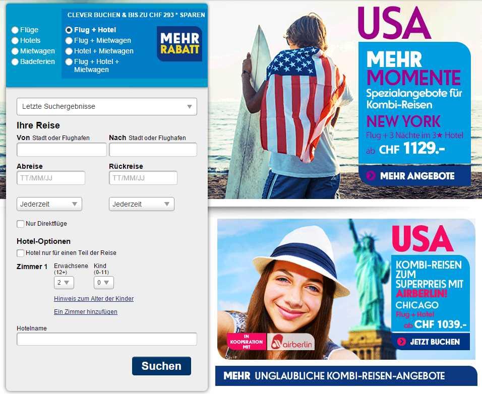 Ebookers Reisen und Flüge Suchmaske
