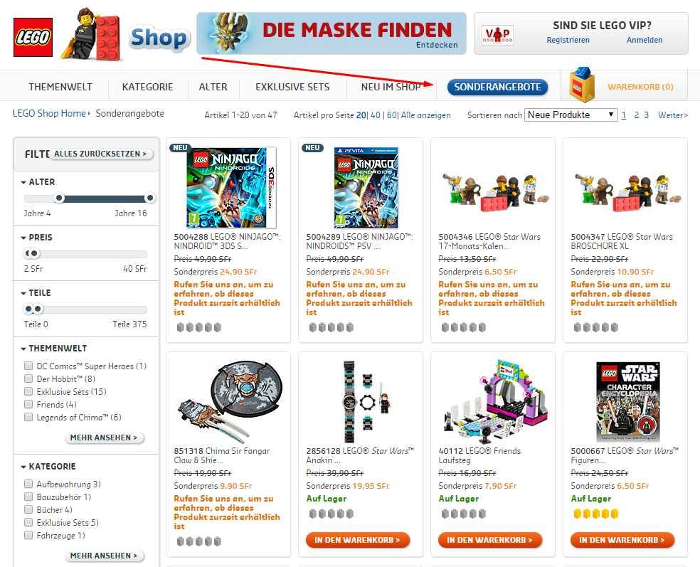Lego Shop Sonderangebote