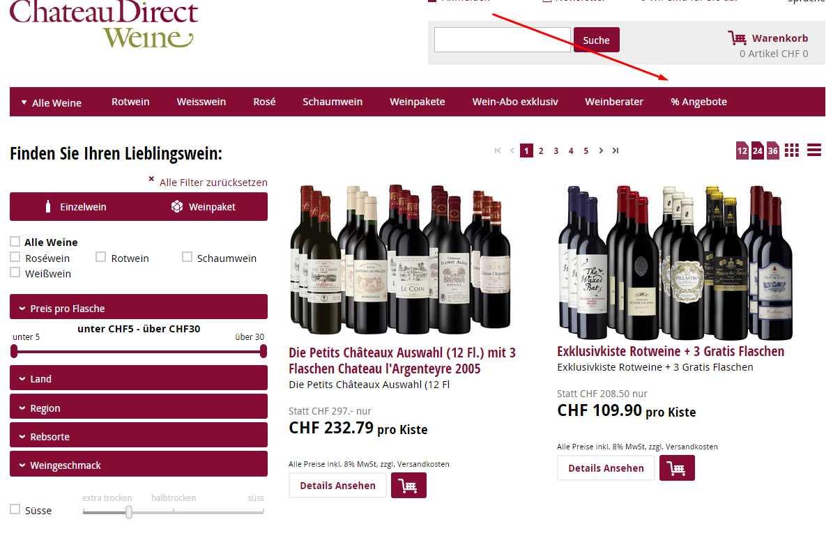 Chateau Direct Weine Sale
