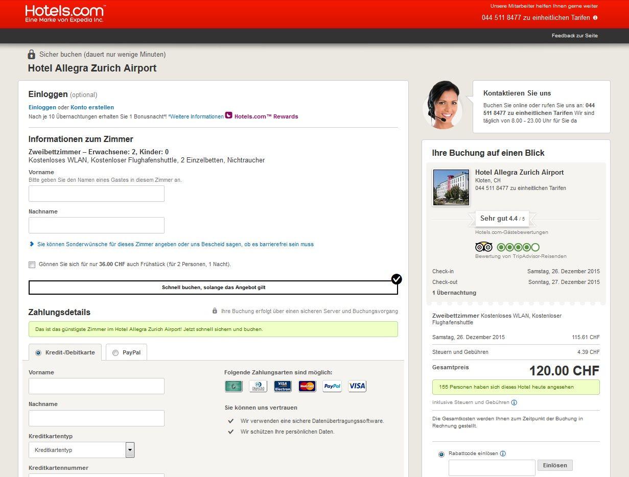 hotels.com Gutschein einlösen