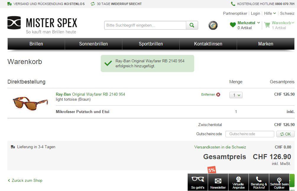 Mister Spex Gutscheincode einlösen